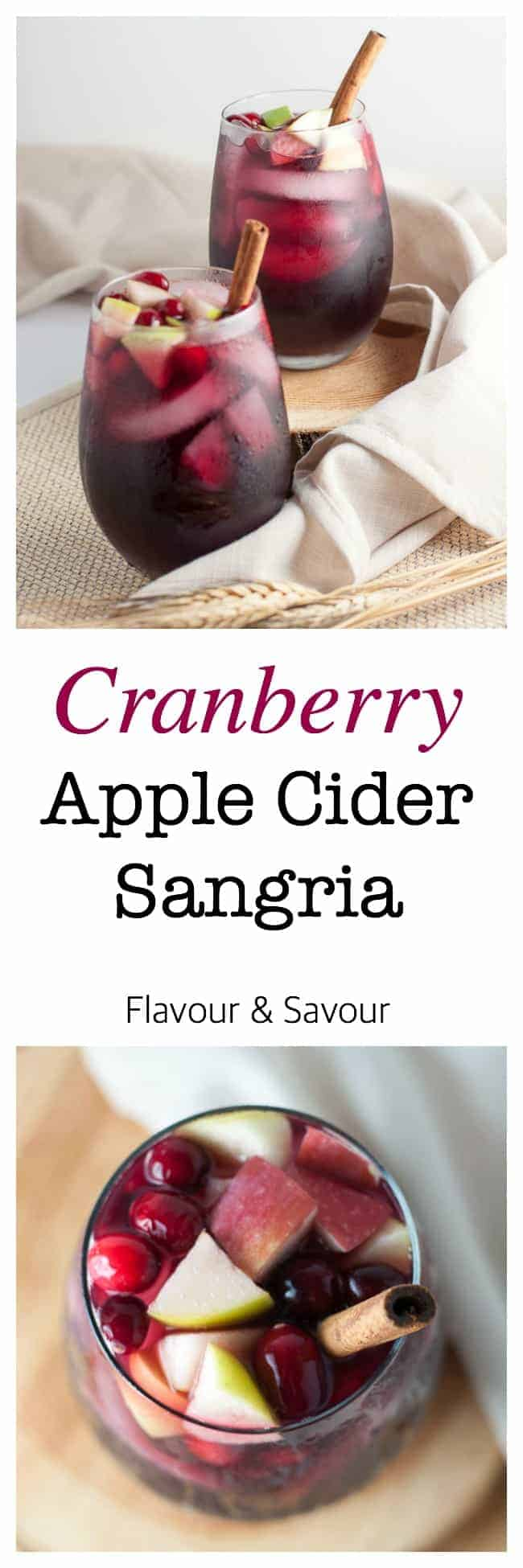 Cranberry Apple Cider Sangria. Celebrate the season with this simple Cranberry Apple Cider Sangria flavoured with fresh cranberries and apples. This one is a crowd-pleaser for any season!