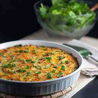 Paleo Kohlrabi Sausage Quiche. Super easy weeknight meal! A crustless quiche, made with healthy kohlrabi and carrots and flavoured with spicy chorizo sausage or bacon.  www.flavourandsavour.com