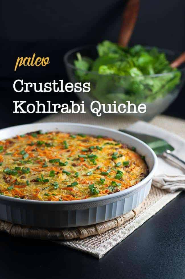 Paleo Crustless Kohlrabi Quiche