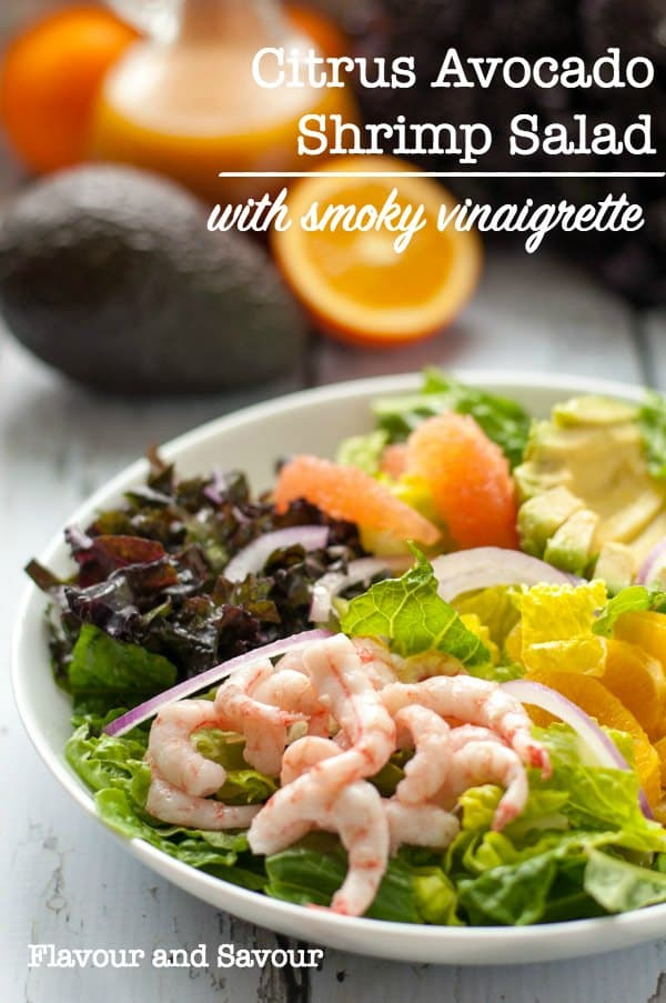 This healthy salad features crisp romaine, curly red kale, fresh orange and grapefruit sections, creamy avocado, thinly sliced red onion and wild baby shrimp, all drizzled with a smoky vinaigrette. #shrimp #salad #orange #grapefruit #avocado #glutenfree #paleo #flavourandsavour
