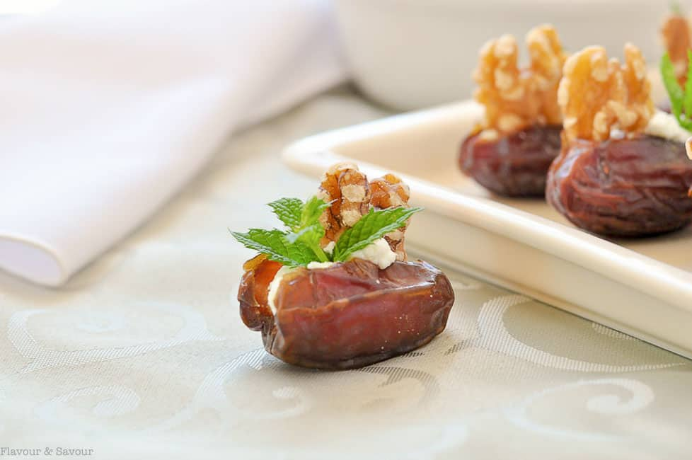 Medjool dates stuffed with goat cheese, toasted walnuts and fresh mint