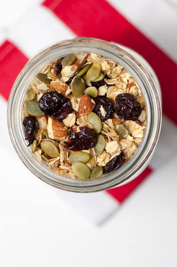 Homemade Cherry Almond Vanilla Granola. Homemade gifts from the kitchen!
