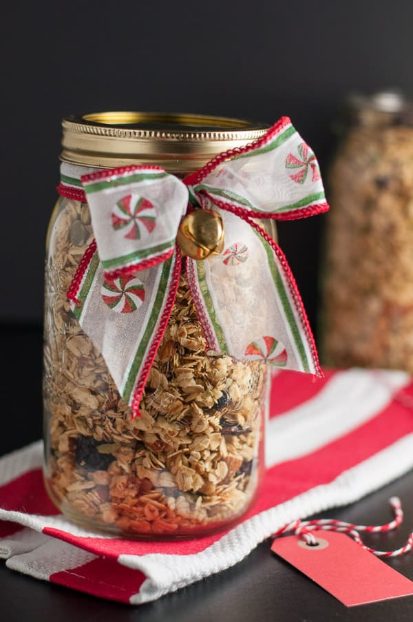 Homemade gifts from the kitchen! Homemade Cherry Almond Vanilla Granola. Healthy, hearty crunchy granola!