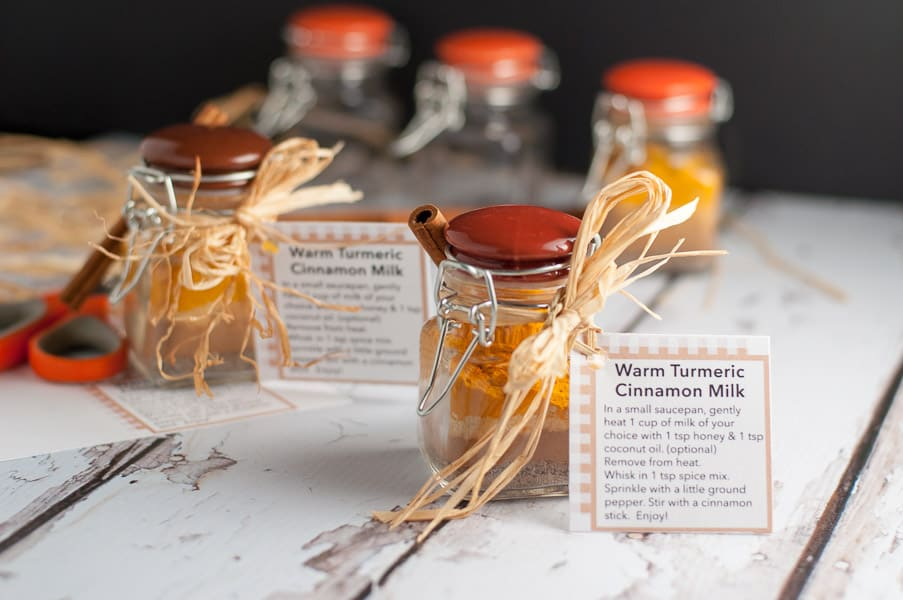 Get the recipe, instructions and printable tags to make this Warm Cinnamon Turmeric Milk. This spice mix makes a great gift! Post includes more homemade gifts from the kitchen, too.