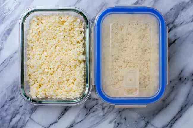 3 easy steps to make Cauliflower Rice and store in freezer containers