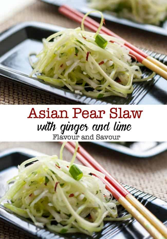 Paleo Asian Pear Slaw with Ginger and Lime. A refreshing vegan slaw made with Asian pears (apple pears), celery, and fennel and lightly dressed with a ginger-lime vinaigrette. This is a perfect accompaniment to Thai or Asian dishes. #paleo #vegan #Thai #Asian #applepears #ginger #lime