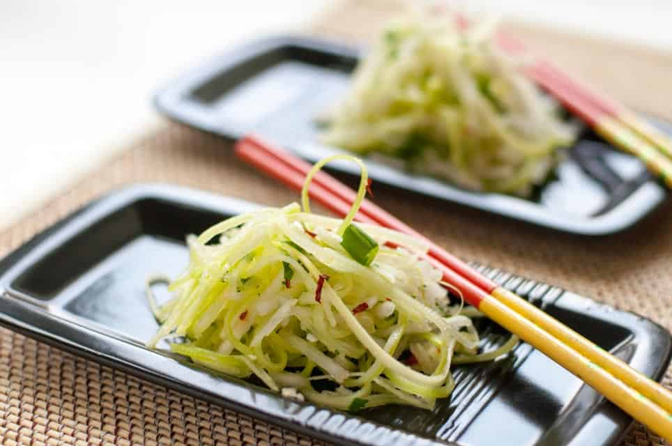 Asian Pear Slaw with Ginger and Lime. A refreshing slaw made with Asian pears (apple pears), celery, and fennel and lightly dressed with a ginger-lime vinaigrette. This is a perfect accompaniment to Thai or Asian dishes.