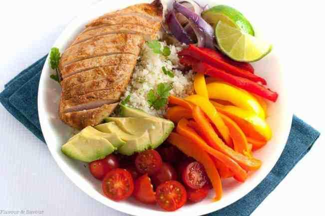 Chicken Fajita Bowl with Cauliflower Rice