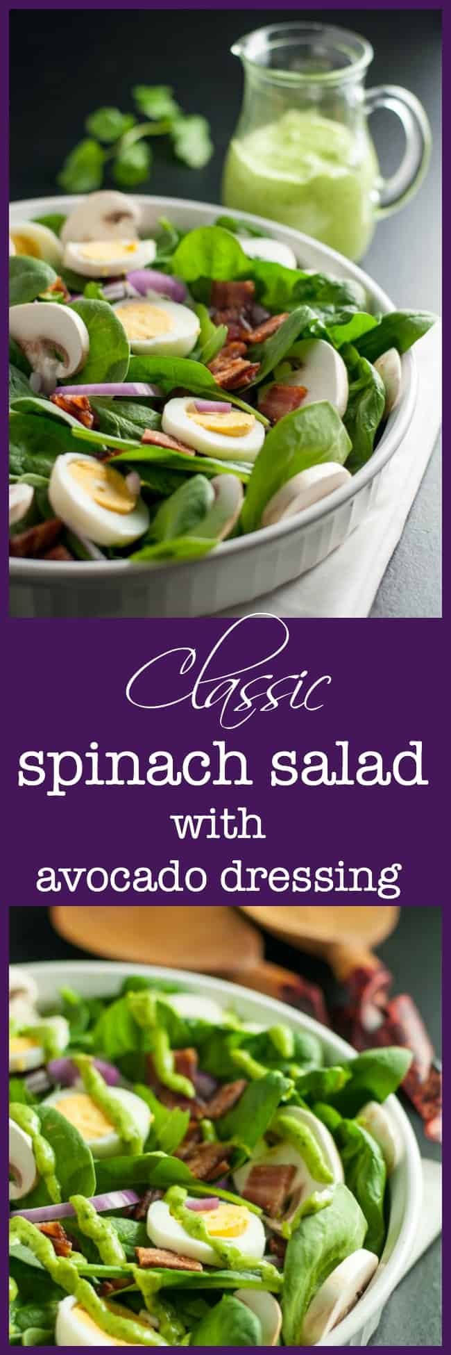 Classic Spinach Salad with Dairy-Free Creamy Avocado Dressing. Love spinach salad but hate the high-fat buttermilk dressing? Try this updated paleo spinach salad with creamy dairy-free avocado dressing.