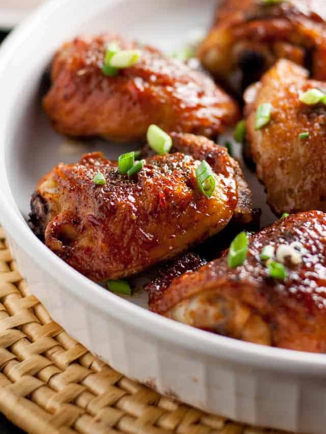 Smoky Chipotle Honey-Mustard Glazed Chicken Thighs. J