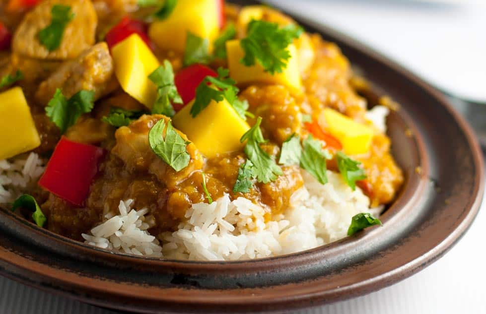 Slow Cooker Thai Mango Chicken. One of our favourite family meals, now made even easier by cooking it in a slow cooker!