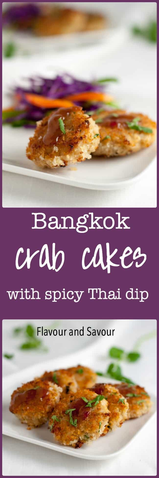 Bangkok Crab Cakes with Spicy Thai Dip. All your favourite Thai flavours in one little bite! They're sweet, salty, sour, and spicy. Perfect accompaniment to a Thai meal.