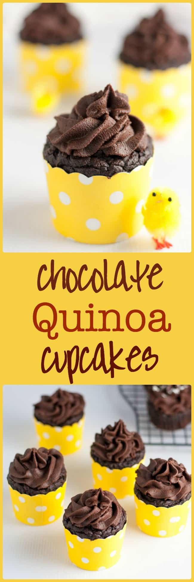 Even Healthier Chocolate Quinoa Cupcakes. An updated, healthier version of the traditional recipe, now gluten-free, and refined sugar-free too! Rich chocolate flavour, topped with Whipped Chocolate Coconut Milk frosting. Perfect for Easter treats!