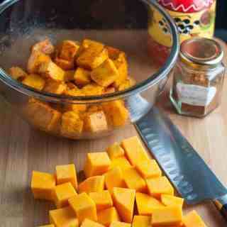 Fast and Fancy Taco Butternut Squash Bites. Only 3 ingredients. Just toss and roast. Kids love it, too.  www.flavourandsavour.com