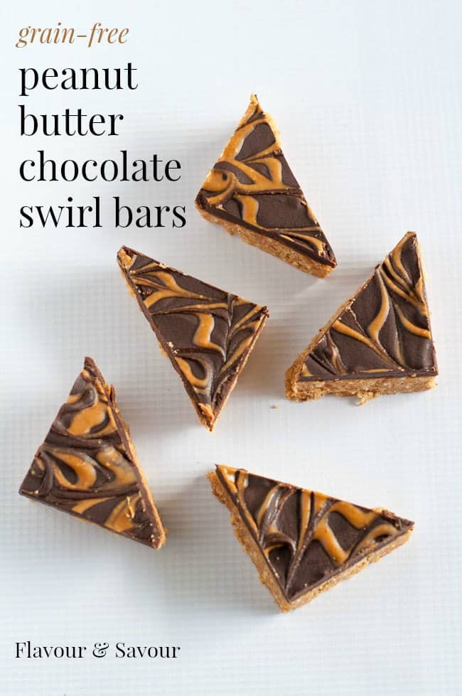 Grain-Free Peanut Butter Swirl Chocolate Bars cut into triangles with text on graphic.