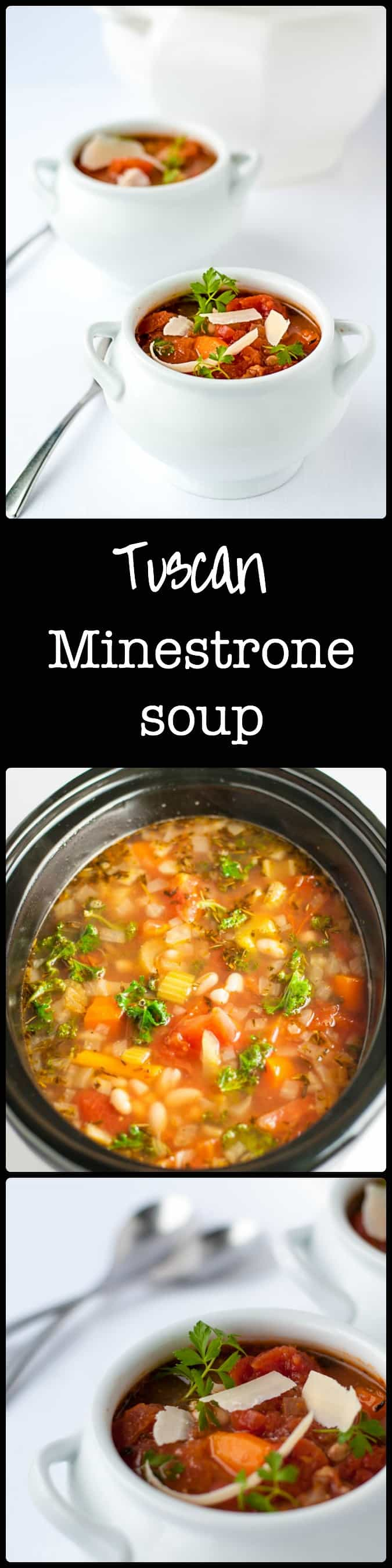 Get the recipe for this One-Pot Healthy and Hearty Tuscan Minestrone Soup. Brimming with rich Italian tomato flavour, this is an easy meatless slow cooker soup. Set it and forget it! Vegetarian.