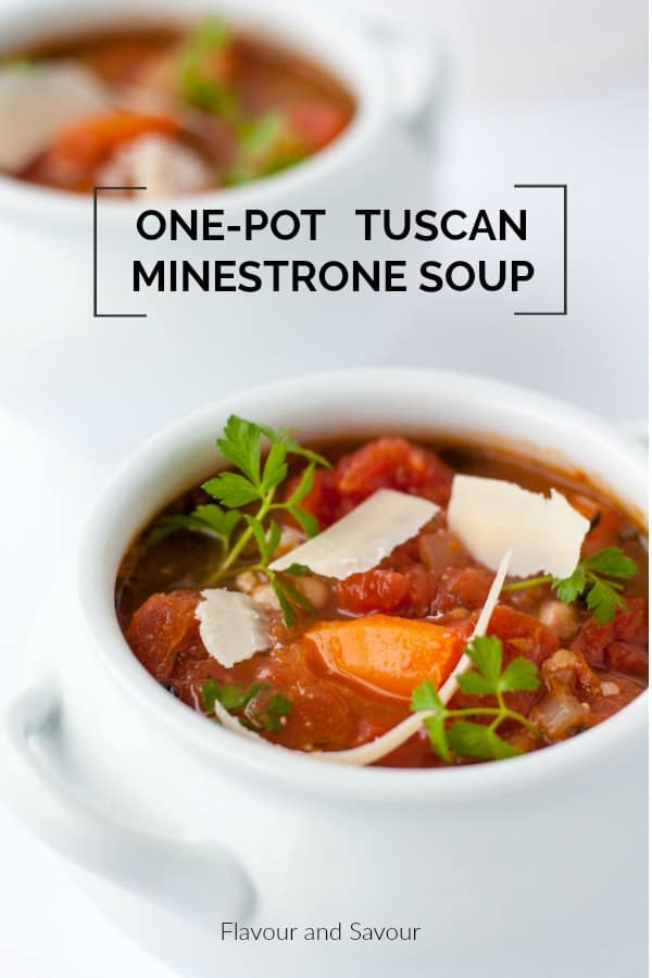 This one-pot healthy and hearty Tuscan Minestrone soup is brimming with rich Italian tomato flavour. It's an easy slow-cooker soup. Set it and forget it!  It's a simple, rustic meatless meal that totally satisfies. #vegetarian #glutenfree #slowcooker #minestrone #Italian #flavourandsavour