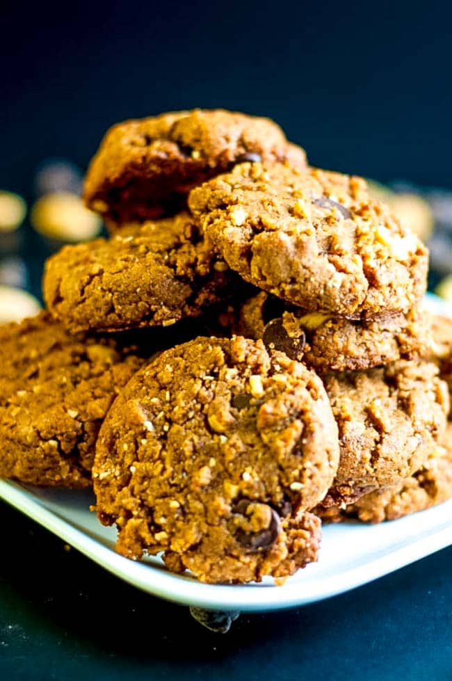 Favourite Gluten-Free Peanut Butter Chocolate Cookies. Made with almond flour, coconut palm sugar, peanuts and chocolate chips.