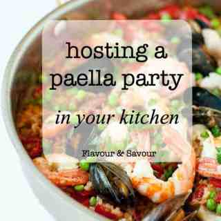How to host a Paella Party in your kitchen. Tips for making paella, a traditional Spanish rice and seafood dish.