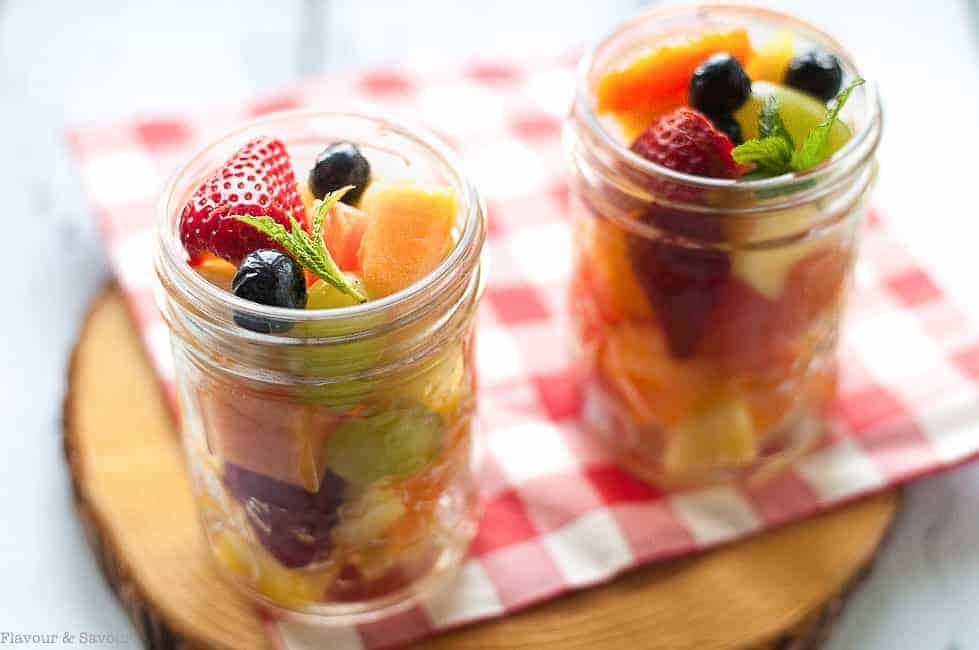 Mason Jar Boozy Tropical Fruit Salad.
