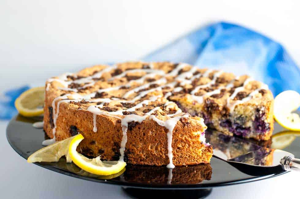 Gluten-Free Blueberry Lemon Coffee Cake. A light, airy cake, delicately flavoured with lemon and bursting with blueberries. |www.flavourandsavour.com