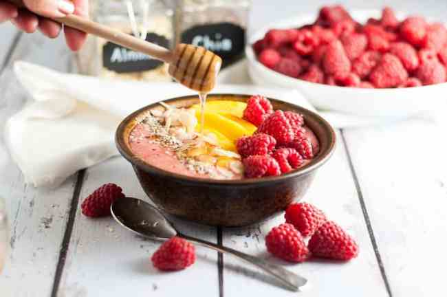 Healthy Peach Melba Smoothie Bowl from Flavour and Savour