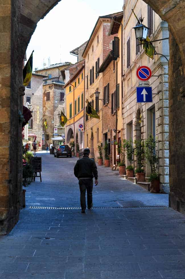 Traveling in Tuscany. Montepulciano portico