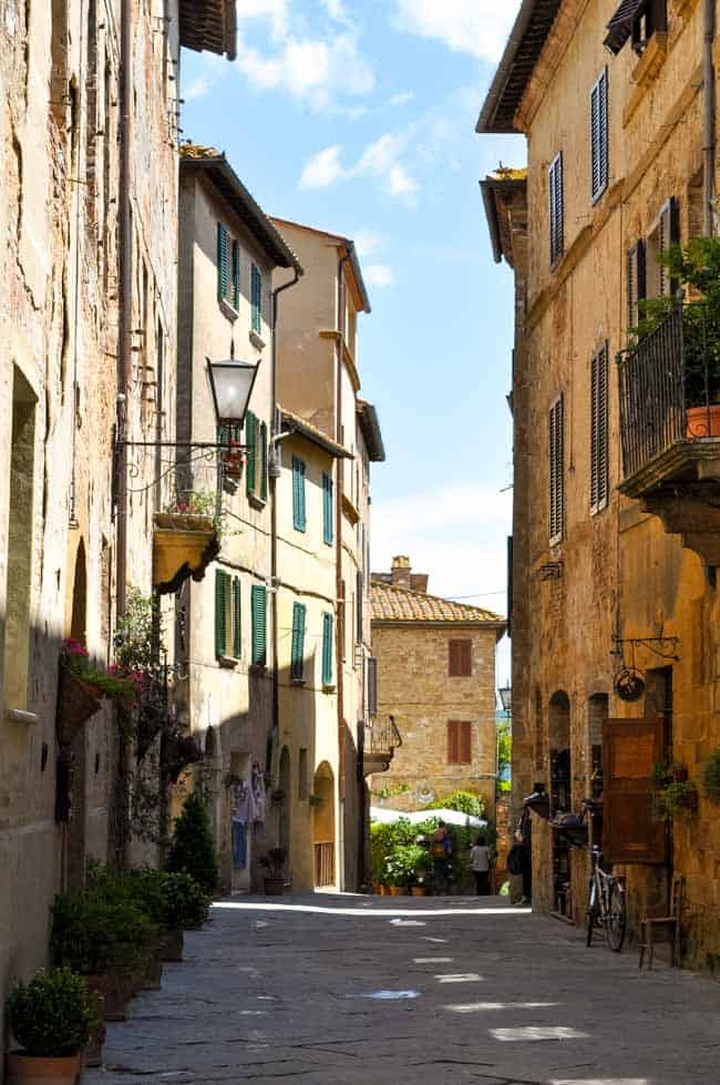 Traveling in the Heart of Tuscany . Street scene in hill town of Tuscany. |www.flavourandsavour.com