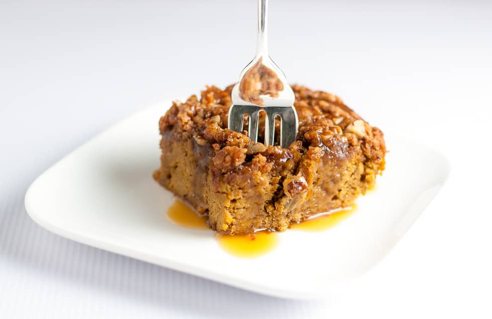 This Pumpkin Pecan Coffee Cake is topped with crunchy pecans and drizzled with caramel sauce. Made with almond flour, it's gluten-free and paleo! A perfect clean-eating fall snack cake or dessert. |www.flavourandsavour.com