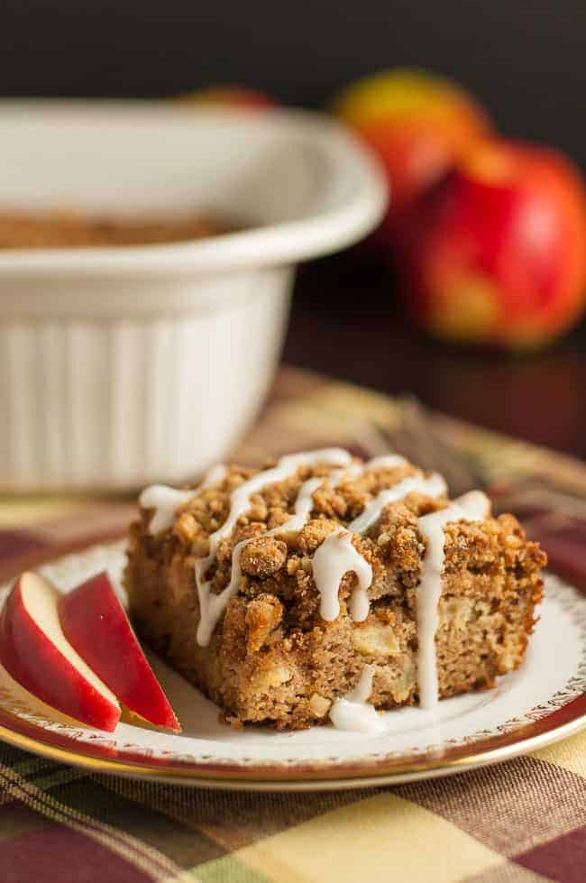 Gluten-Free Apple Cinnamon Coffee Cake drizzled with icing.