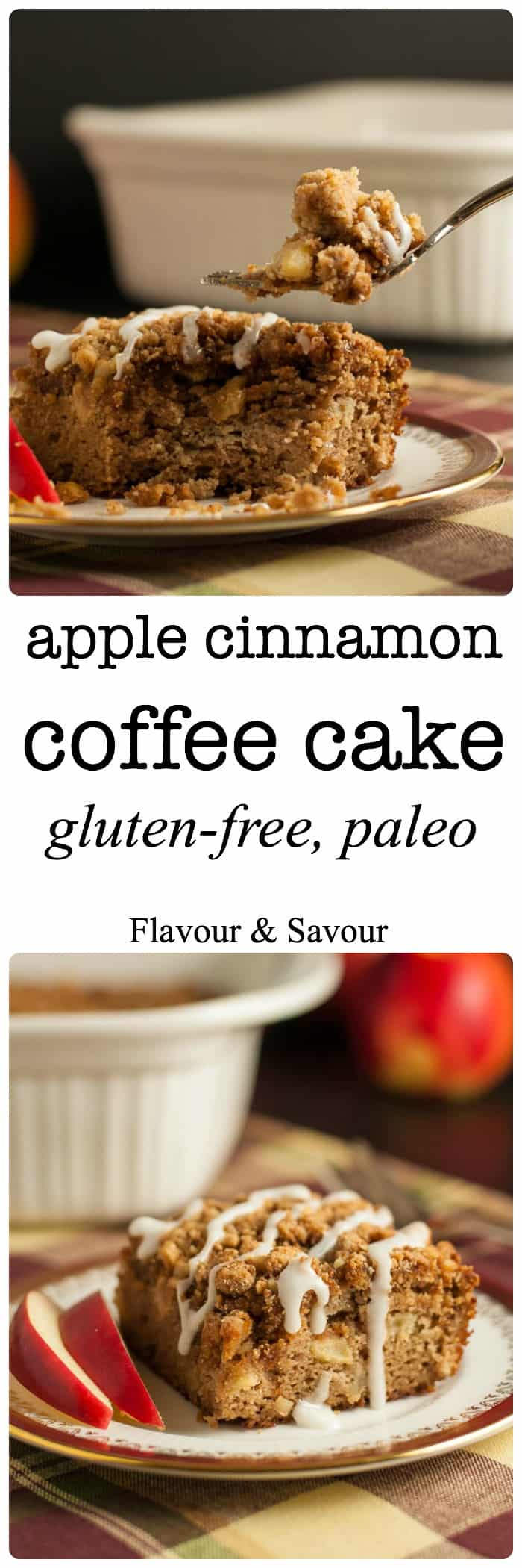 This Gluten-Free Apple Cinnamon Coffee Cake is tender, moist, grain-free and dairy-free. It's sweetened with maple syrup and coconut sugar. You'd never guess it's Paleo! |www.flavourandsavour.com