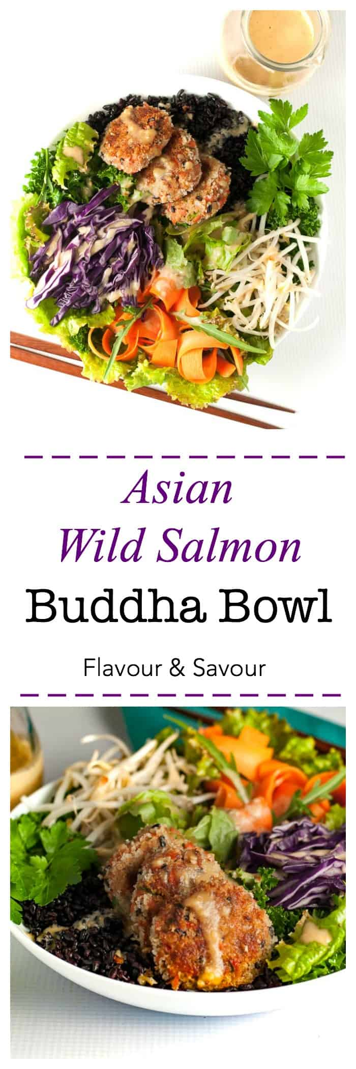 A superfood protein-packed meal in a bowl, made with #RaincoastTradingCo wild sockeye salmon, Forbidden Rice, kale, red cabbage, carrots, bean sprouts and drizzled with peanut sauce. #ad #power_bowl #buddha_bowl #salmon #patties #peanut_sauce