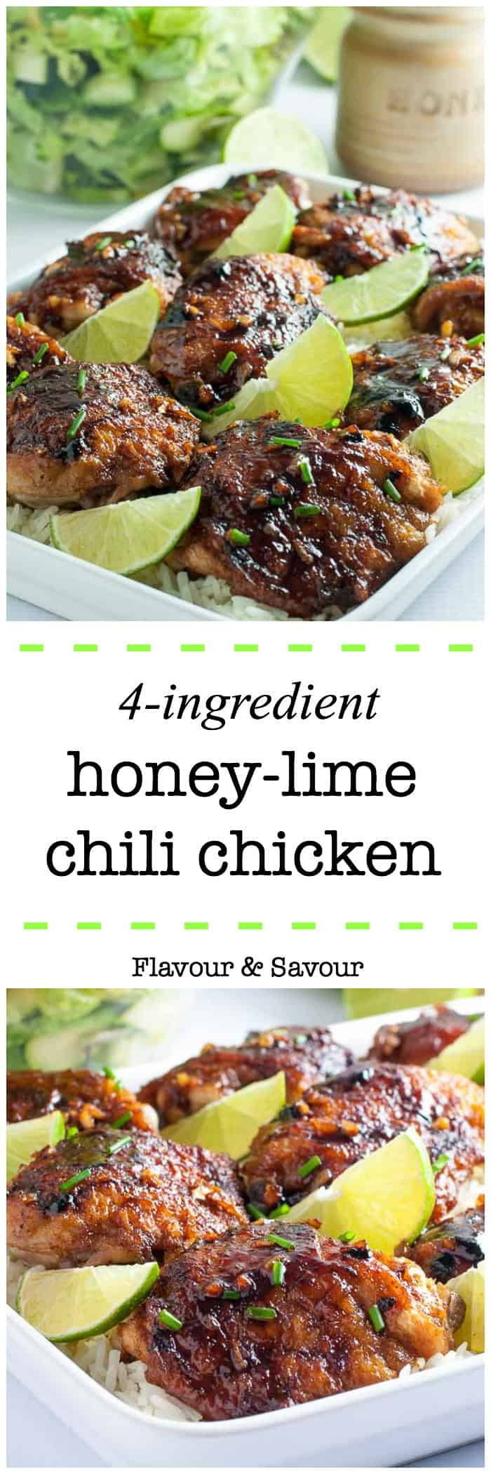 This recipe for 4-Ingredient Honey Lime Chili Chicken Thighs makes an easy weeknight meal. It's succulently sweet and spicy!  An easy one-pot dish. Simple instructions for how to sear chicken without having it stick to the pan! |www.flavourandsavour.com