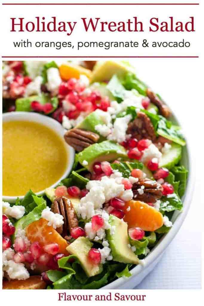 Pinterest pin for Christmas Wreath Salad