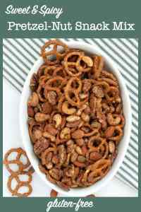 Sweet and Spicy Pretzel Nut Snack Mix in a bowl