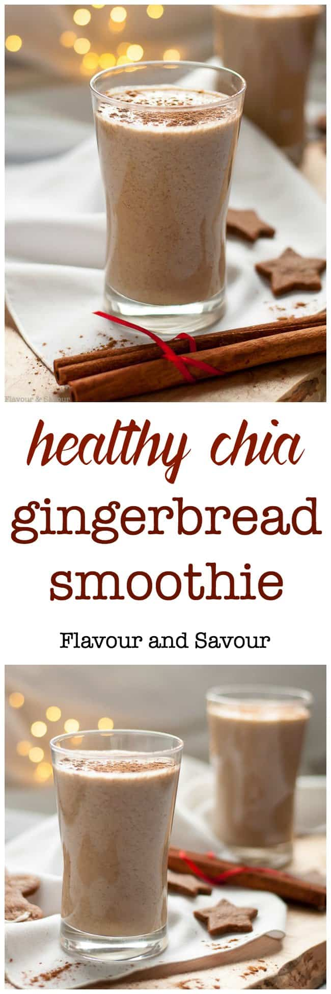 Start your fall and winter mornings on a healthy note with this Healthy Chia Gingerbread Smoothie. This energizing, protein-rich smoothie is lightly spiced with the flavours of gingerbread: cinnamon, cloves, cardamom and ginger. It's naturally sweetened with banana, dates and molasses.