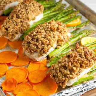 If you like Sheet pan Chicken dinners, you may also like this Maple Dijon Walnut Crusted Sheet Pan Halibut with crispy sweet potato chips and asparagus. A one-pan paleo meal that cooks in only 10 minutes. |www.flavourandsavour.com