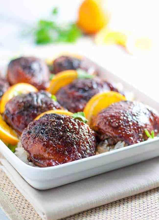 Hoisin Orange Glazed Chicken Thighs