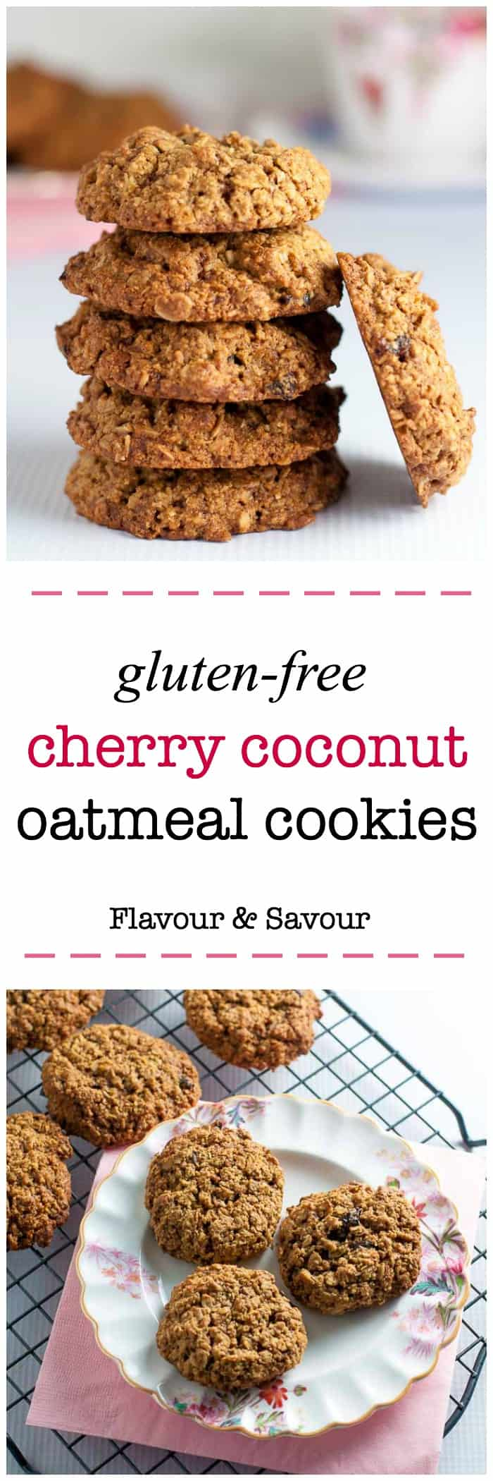 Gluten Free Cherry Coconut Oatmeal Cookies. Sweetened with low glycemic coconut palm sugar, these are a healthy option for cookie lovers!
