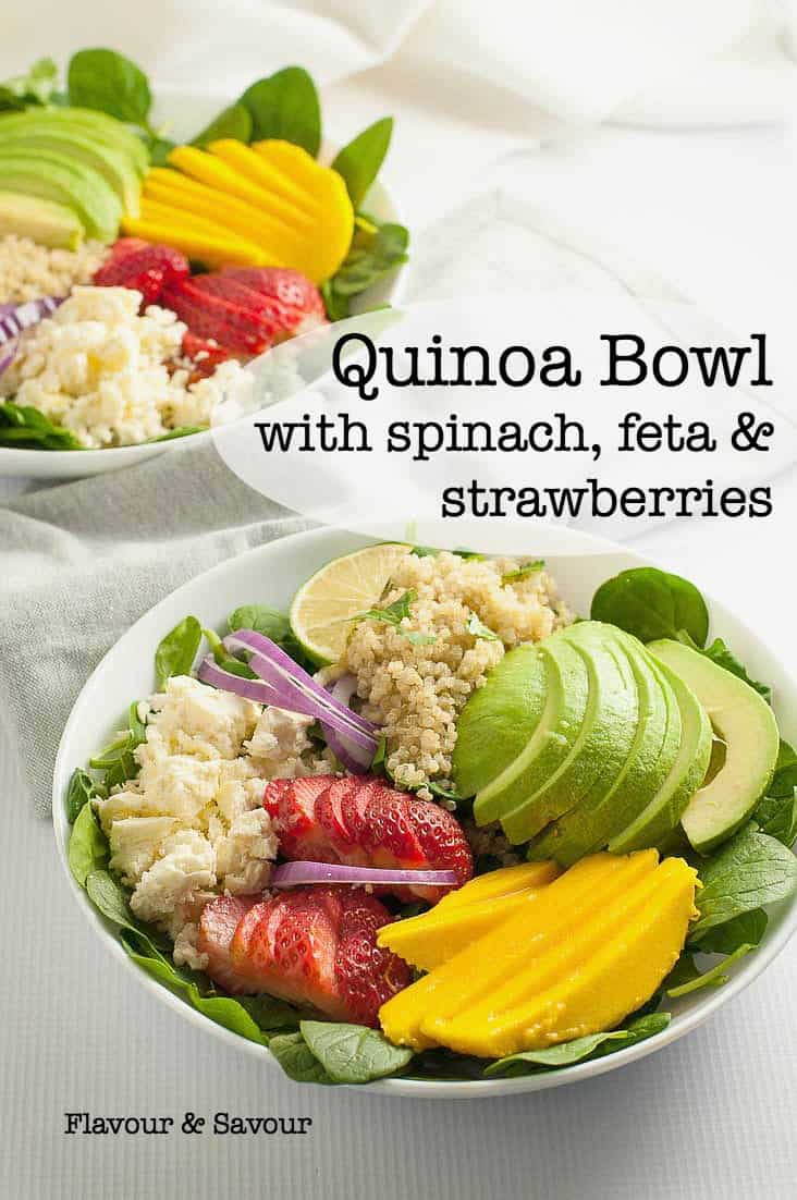 Healthy Quinoa Bowl with Spinach, Feta and Strawberries. A nutritious, colourful meal-in-a-bowl drizzled with a slightly sweet Poppy Seed Dressing. Sliced mango and avocado add colour and texture.#rainbowsalad #quinoa #powerbowl #Buddhabowl #feta #strawberries #avocado #mango