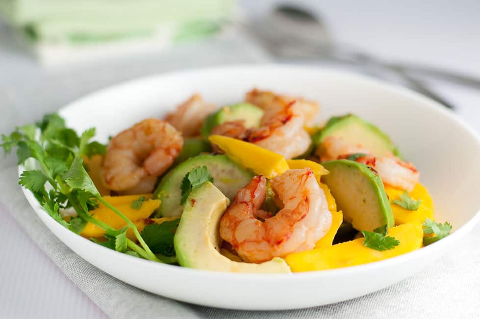 Prawn Mango Avocado Salad with Lemon Lime Dressing. Use Shrimp or Prawns to make this beautiful fresh salad.