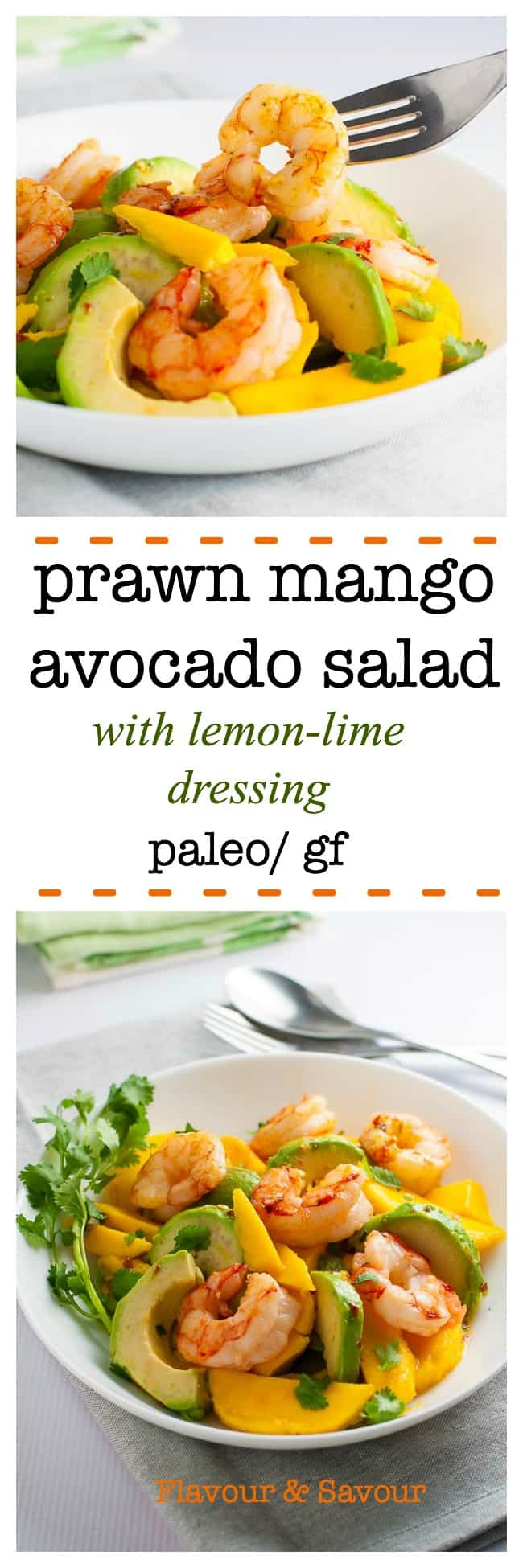 This paleo Prawn Mango Avocado Salad with sizzling shrimp can ready to eat in 15minutes. Sweet, juicy mangos, creamy avocado and tender shrimp all tossed with a lemon-lime dressing make a simple but simply delectable salad. #prawns #shrimp #mango #avocado #salad #paleo #glutenfree