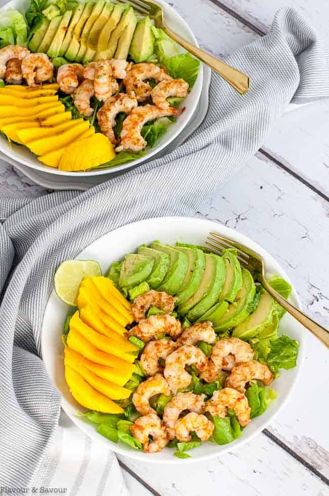 Overhead view of Prawn Mango Avocado Salad