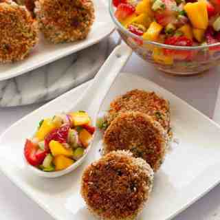 Crispy Tex-Mex Crab Cakes with Strawberry Mango Salsa
