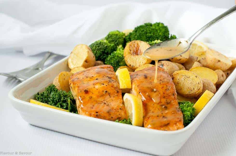 Bourbon Maple Glazed Salmon with broccoli and lemon oven-roasted potatoes