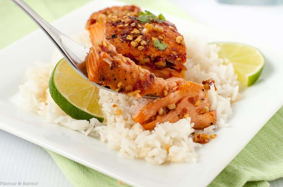 Easy Honey Chili Lime Glazed Salmon. You're going to love this Chili Lime Glazed Salmon. Why? The glaze needs only 4 ingredients that you probably already have in your home and it takes only 15 minutes to cook. |www.flavourandsavour.com