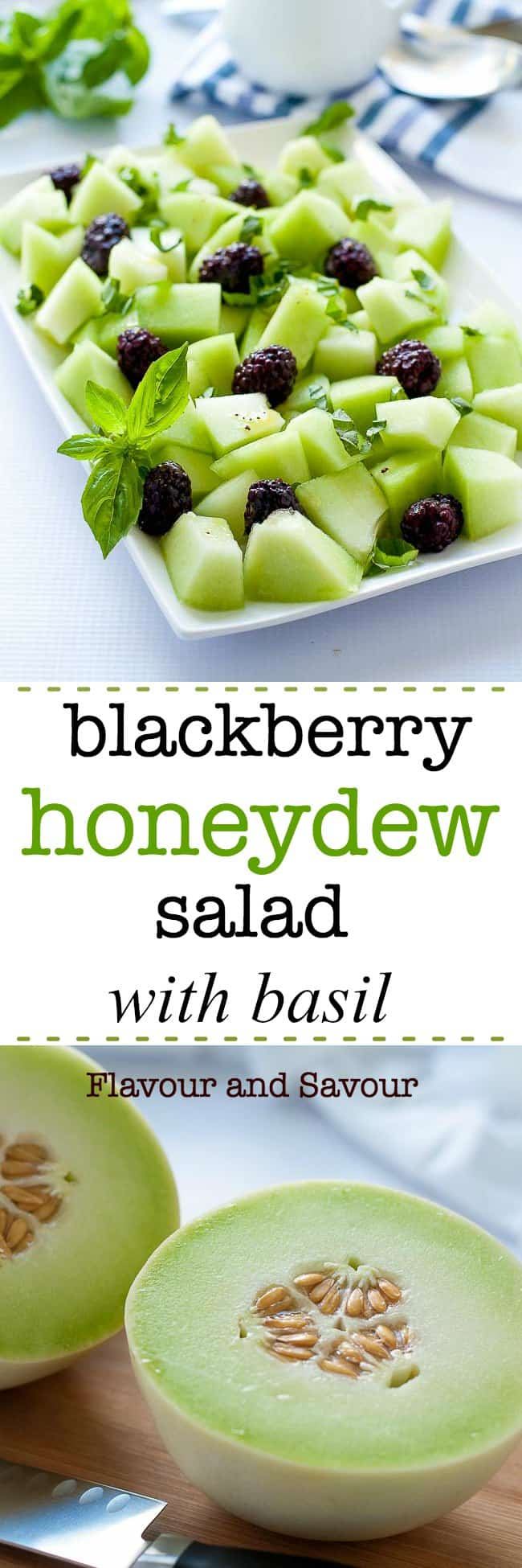 Sweet honeydew, tart blackberries and pungent basil combine to make this fresh Blackberry Honeydew Salad with Basil as appetizing to look at as it is to eat.