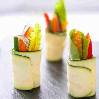 Three Fresh Zucchini Roll-ups stuffed with fresh veggies.