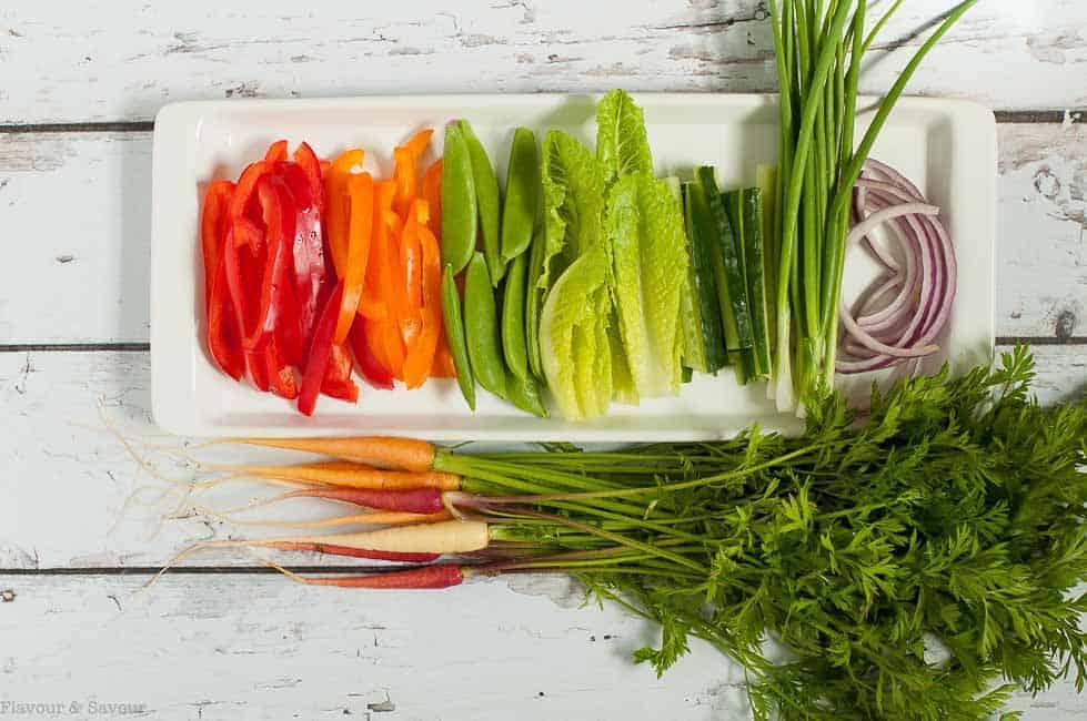 Fresh Veggies for Zucchini Roll Ups
