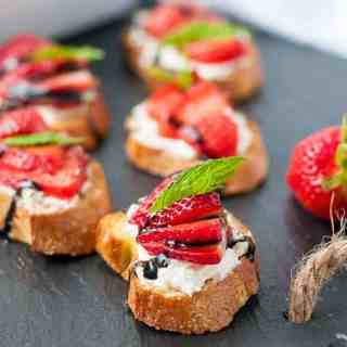 Strawberry Whipped Feta Crostini